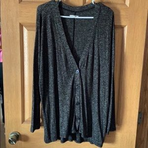 Black Speckled V Buttoned Cardigan
